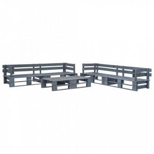 Set mobilier de gradina din paleti, 6 piese, gri, lemn - V276322V
