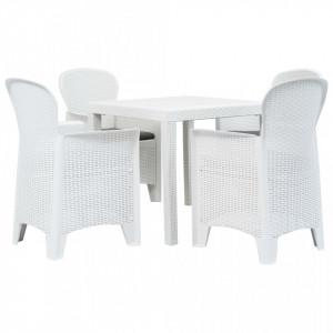 Set mobilier exterior, 5 piese, alb, plastic, aspect ratan - V276108V