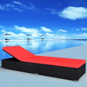 Sezlong de plaja cu perna, negru, poliratan - V44405V