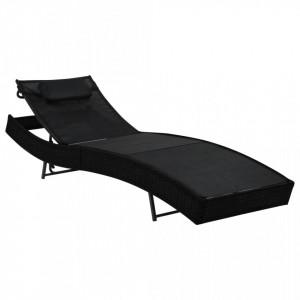 Sezlong de plaja cu perna, negru, poliratan - V44717V