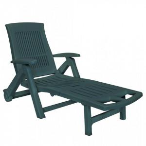 Sezlong de plaja cu suport picioare, verde, plastic - V43587V