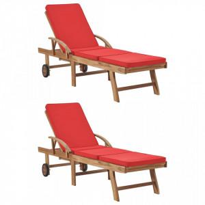 Sezlonguri cu perne, 2 buc., rosu, lemn masiv de tec - V3054637V