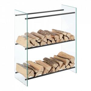 Suport lemne foc Oshawa Glas, 80x100x35cm, otel/sticla securizata, transparent/negru - P71901958