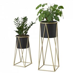 Suport plante Mara 2 bucati marimi diferite, metal/ galben auriu - P65862395