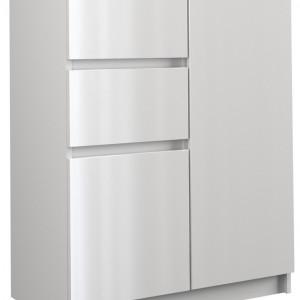TECOA116 - Comoda 70 x 40 x 97 cm, Alb-Lucios