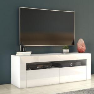 TECTV7 - Comoda TV 140 cm, living - Alb lucios, Negru lucios
