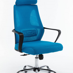 TESCAl101 - Scaun birou cu tetiera 68 x 52 x 127 cm - Albastru