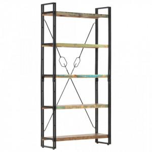 Biblioteca cu 5 rafturi, 90 x 30 x 180 cm, lemn masiv reciclat - V286584V