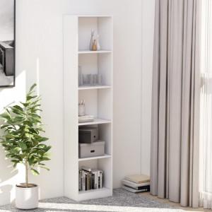 Biblioteca cu 5 rafturi, alb, 40 x 24 x 175 cm, PAL - V800846V