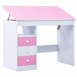 Birou de studiu & desenat pentru copii rabatabil, roz si alb - V287447V