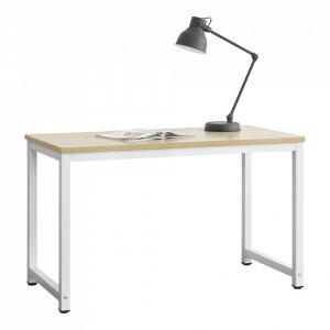 Birou Herning, 75 x 120 x 60 cm, otel sinterizat/ PAL melaminat, alb/culoarea stejarului, inaltime reglabila - P65862413