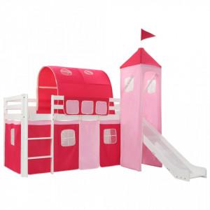 Cadru pat etajat copii cu tobogan & scara 208x230 cm lemn pin - V282710V