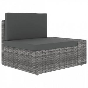Canapea de colt modulara cu cotiera stanga, gri, poliratan - V49519V