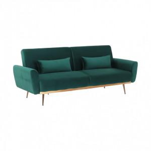 Canapea extensibilă, material textil Velvet smarald, FASTA