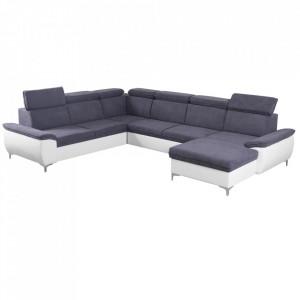 Canapea, gri/alb, model dreapta, MARELIA