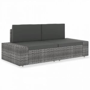 Canapea modulara cu 2 locuri, gri, poliratan - V49525V