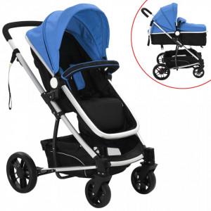 Carucior/landou pentru copii 2-in-1 albastru si negru aluminiu - V10106V