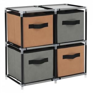 Comodă cu sertare din material textil, negru/maro/gri, CAMILO TYP 1