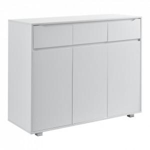 Comoda Hallefors W3 cu 3 sertare si 3 dulapuri cu usi, 101,5 x 120 x 48 cm, PAL/invelis melamina, alb - P72528810