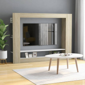Comoda TV, alb si stejar Sonoma, 152 x 22 x 113 cm, PAL - V800743V
