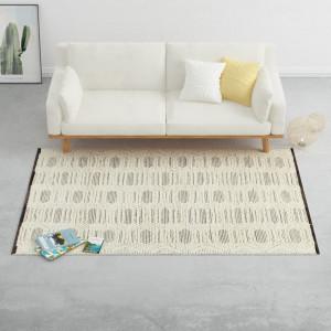 Covor lana tesut manual, 140 x 200 cm, alb/negru - V284370V