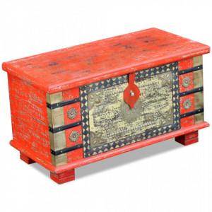 Cufar din lemn de mango, 80 x 40 x 45 cm, rosu - V243331V