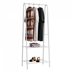 Cuier pentru haine cu rafturi, alb, RETOR