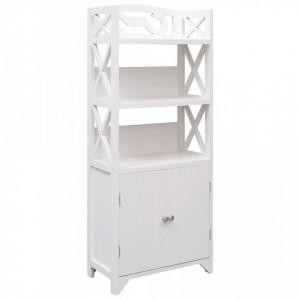 Dulap de baie, alb, 46 x 24 x 116 cm, lemn de paulownia - V284109V