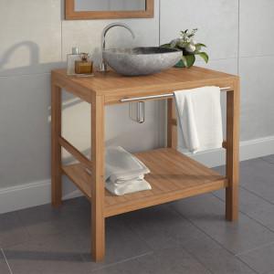 Dulap de chiuveta baie, lemn masiv de tec, 74 x 45 x 75 cm - V246492V