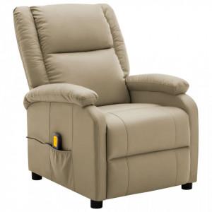 Fotoliu de masaj rabatabil, cappuccino, piele ecologica - V322435V