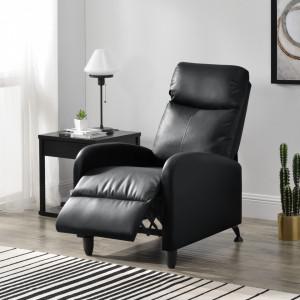 Fotoliu Relax Kunstleder Negru, 102 x 60 cm, imitatie piele, negru, cu spatar reglabil - P68050988