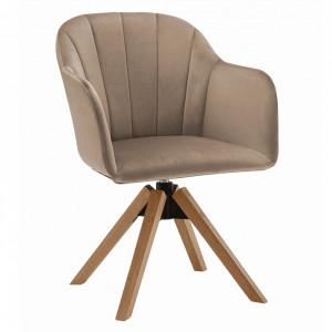 Fotoliu rotativ, textil Velvet, taupe gri-maro/fag, DALIO