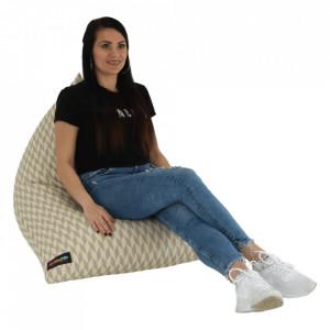 Fotoliu tip sac, crem/material textil cu model, RIUK