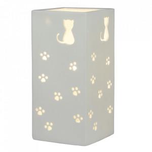 Lampă de masă din ceramică, model alb / pisică, BELLE TIP 2