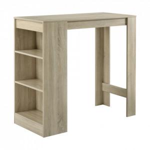 Masa-Bar elegant cu rafturi pentru bauturi Bristol, 110 x 50 x 103 cm, PAL, efect lemn stejar - P66800603