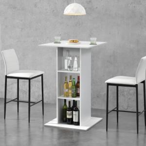 Masa bar Visby A, 70 x 70 x 110cm, PAL melaminat, alb, cu 3 rafturi - P69369743