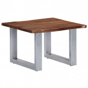Masa de cafea, muchii naturale, 60x60x40 cm, lemn masiv acacia - V247826V