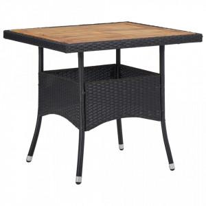 Masa de exterior, negru, poliratan si lemn masiv de acacia - V46171V