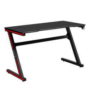 Masă de joc / masă pentru computer, negru / roşu, MACKENZIE 120cm