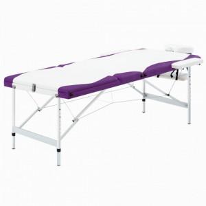 Masa de masaj pliabila, 3 zone, alb si violet, aluminiu - V110241V