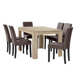 Masa eleganta Henni, MDF efect stejar - maro deschis,140 x 90 cm - cu 6 scaune imitatie de piele, maro cu picioare negre - P51958077