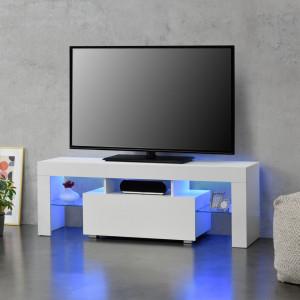 Masa televizor iluminata cu LED Grimsey W, 130 x 35 x 45 cm, PAL melaminat/sticla, alb/alb extra lucios - P69638641