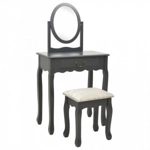 Masa toaleta cu taburet, gri, 65x36x128 cm, lemn paulownia, MDF - V289333V