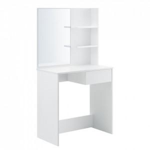 Masa toaleta/machiaj Rustenburg, 141 x 75 x 40 cm, PAL melaminat, alb, cu oglinda - P71488084
