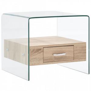 Masuta de cafea cu sertar, 50 x 50 x 45 cm, sticla securizata - V284724V