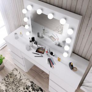 MBMT5 - Set Masa toaleta, 120 cm, cosmetica machiaj, masuta vanity, oglinda cu LED-uri - Alb