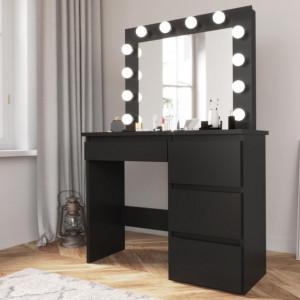 MBMTN2 - Set Masa toaleta, 94 cm cosmetica machiaj oglinda masuta vanity, oglinda cu LED-uri - Negru