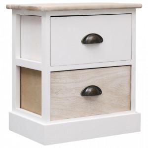 Noptiera, alb si natural, 38 x 28 x 45 cm, lemn de paulownia - V284056V