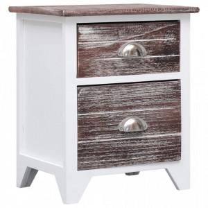 Noptiera, maro si alb, 38 x 28 x 45 cm, lemn de paulownia - V284048V