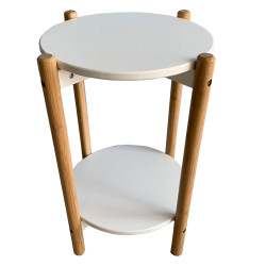 Noptieră / masă, albă / naturală, BAMP